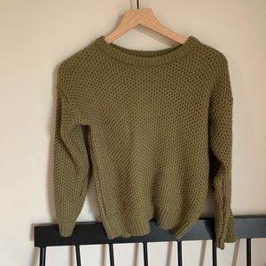 M A K SWEATER | olive green sweater elbow patches